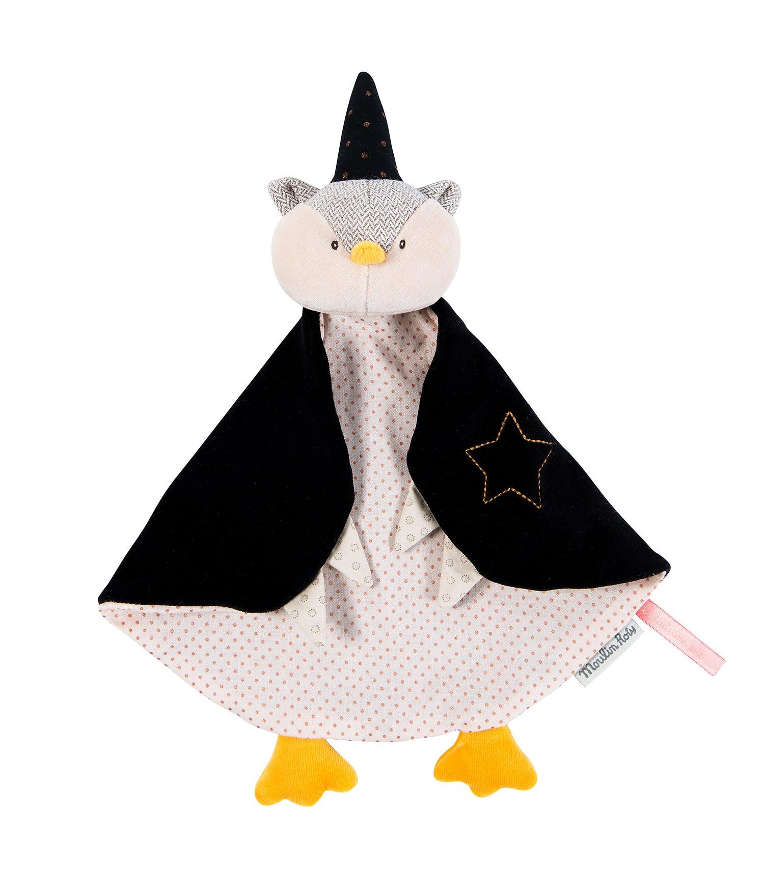 An owl magician in velvet, cotton and tweed, wearing a gold-spotted pointy black hat with his large wings as a cape to wrap around and watch over baby.