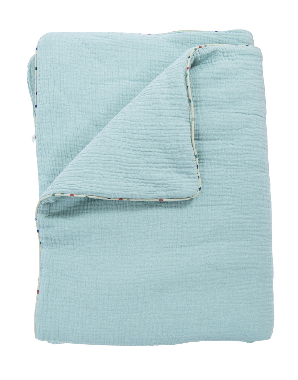Moulin Roty | 100% Cotton Blanket | Blue | Size: 90cm x 70 cm