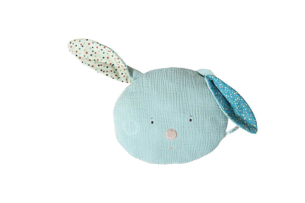 Moulin Roty | 100% Cotton Rabbit Shaped Cushion | Blue | Age: 1Y+