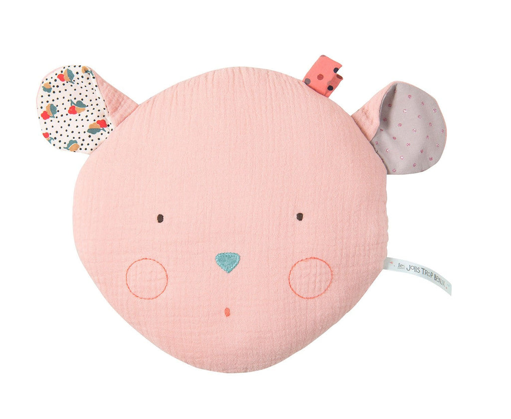 Moulin Roty | 100% Cotton Mouse Shaped Cushion | Pink | Age: 1Y+
