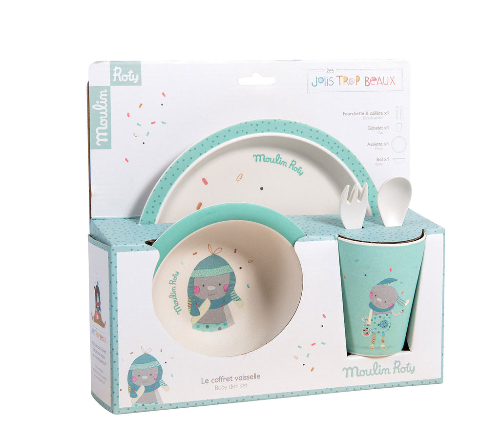 For baby's first meals, a bowl, dish, cup, fork and spoon set. In matt finish bamboo, illustrated with the little Jolis Trop Beaux rabbit in its blue world surrounded by confetti.