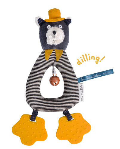 This Moulin Roty's Alphonse The Cat rattle doubles up as a teether ; its ring shape makes it easy for little hands to grab and it has a bell to entertain your child. Its delicate yellow and gray colours and contrasts make it a favourite for newborns and their parents.