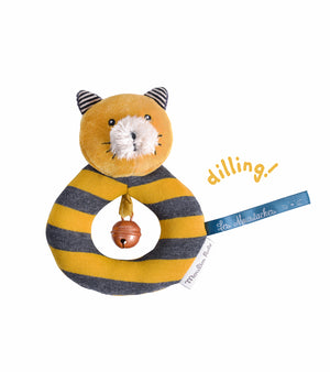 Moulin Roty | Fabric Ring Rattle | 'Les Moustaches' Lulu The Cat | Size: 14cm | Age: 0+