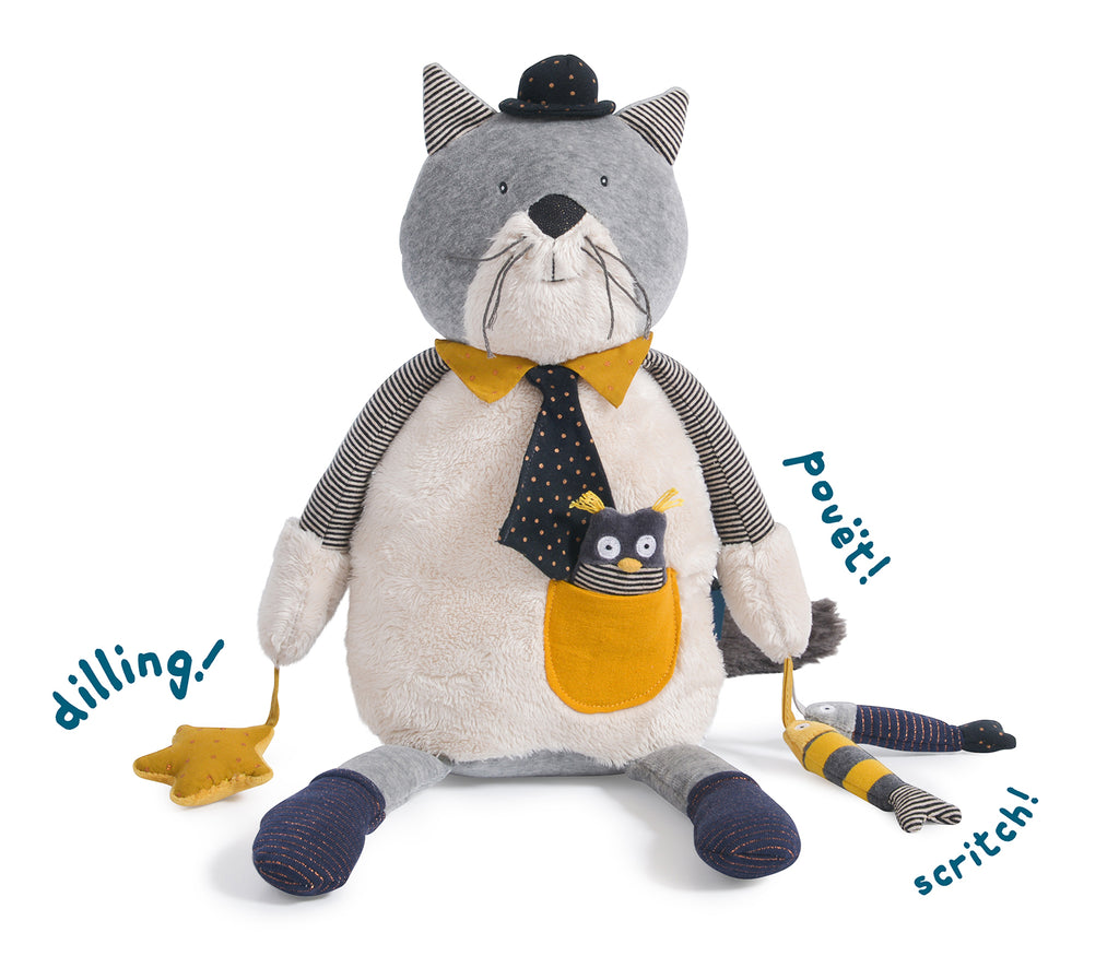 Moulin Roty | Cotton Activity Soft Toy | 'Les Moustaches' Fernand The Cat | Size: 50cm | Age: 0+