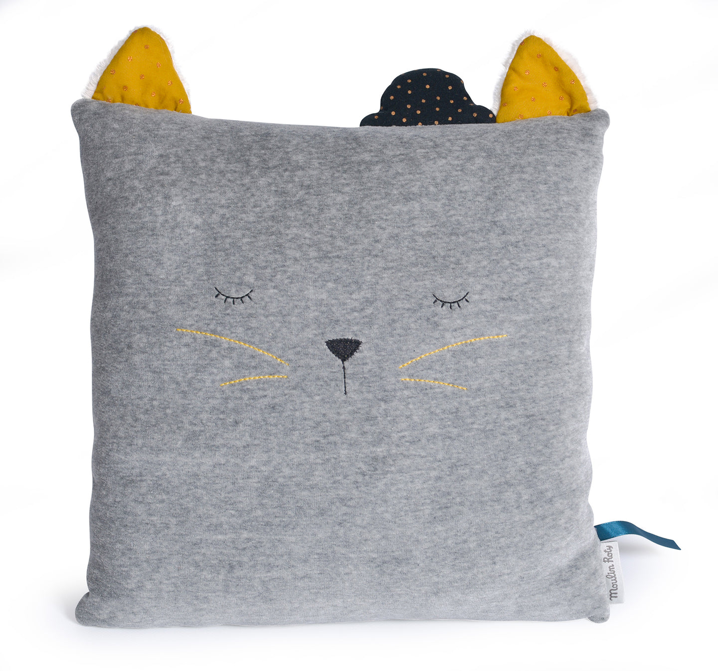 This grey 30 x 30 cm cushion is ideal to decorate baby's room, on the bed or on a seat. It features Alphonse the Cat from Moulin Roty's Les Moustaches range with his very soft ears and a polka dot bowler hat sleeping.