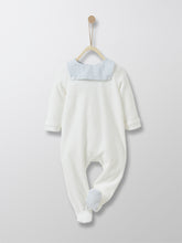 Load image into Gallery viewer, This small sailor-style soft and refined sleepsuit comes with light blue nautical collar and check soles, back fastening and press-studs for easy dressing/undressing. Ideal gift for a newborn with a French touch.
