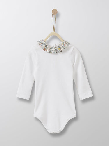 Cyrillus Paris | Bodysuit with Frill Collar | White + Liberty floral collar | 1M