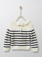 Load image into Gallery viewer, This French style black stripes sweater reinvents cuteness with its small frill collar. Knit in a very soft wool-enriched yarn for baby's well-being. Ideal for Kiwi girls who like comfort and quality - without compromising on style and cuteness!