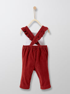 BABY GIRL VELOUR DUNGAREES (DARK RED)