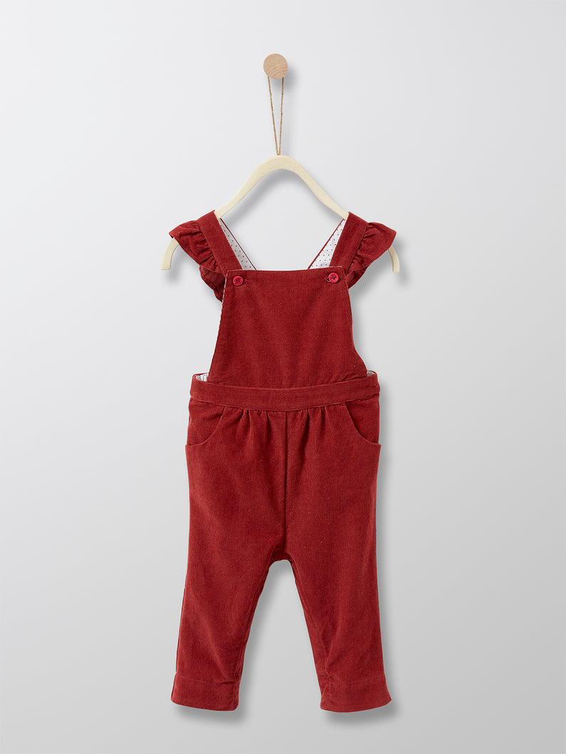 Cyrillus Paris | Girl Velour Dungarees | Dark Red | 6M, 1Y, 2Y, 3Y