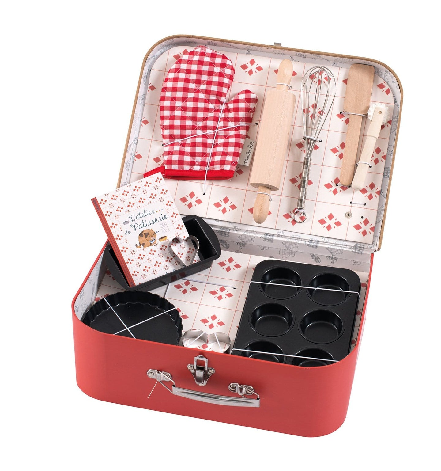 PASTRY COOKING KIT IN ILLUSTRATED VINTAGE-STYLE SUITCASE