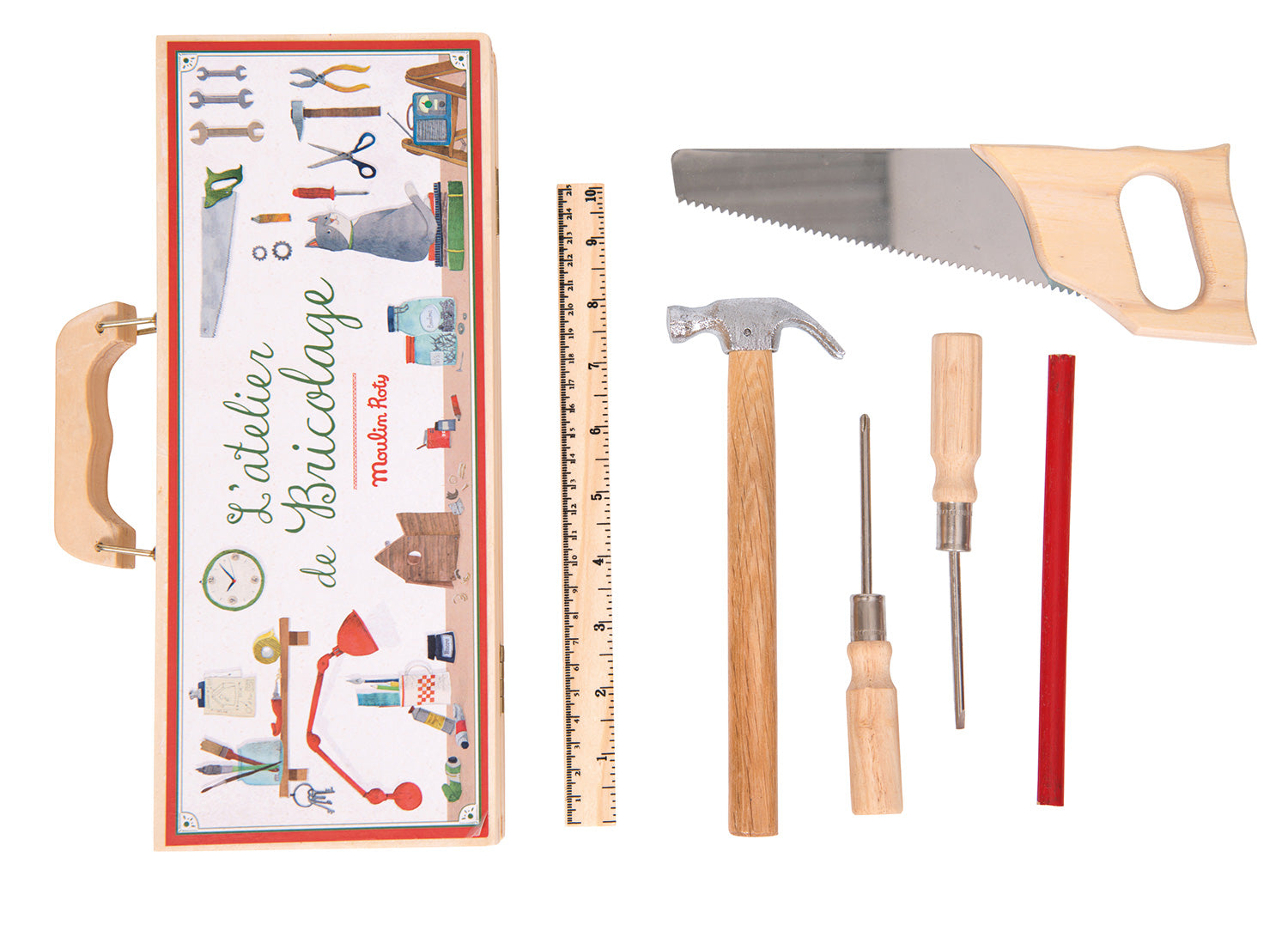 Moulin Roty | Small Tool Box Set in Wooden Case | 6 Wood and Steel Tools