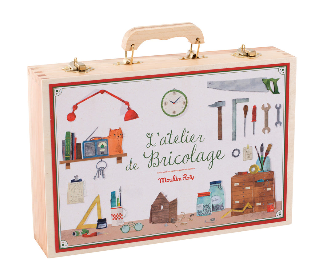Moulin Roty | Large Real Tool Box Set in Wooden Case | 14 Wood and Steel Tools | Age: 6+