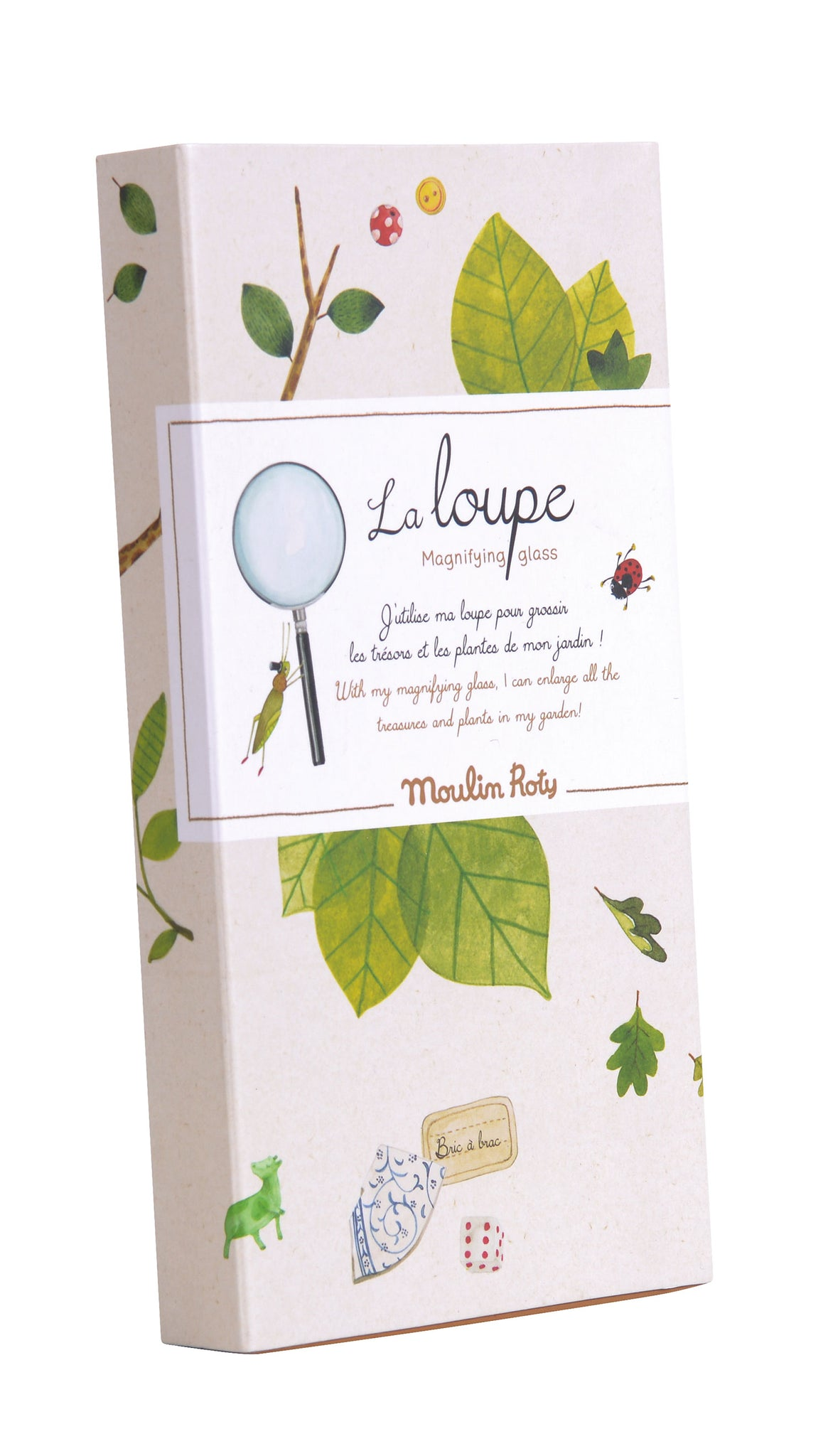Moulin Roty | Real Magnifying Glass in Illustrated Gift Box | 'Le Jardin' | Age: 3+