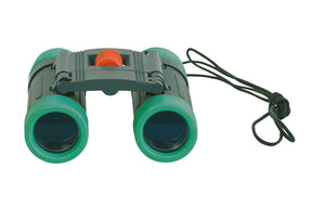 a pair of compact, folding binoculars, easy to use for little hands, offering 8x magnification and presented in a sophisticated illustrated gift box.