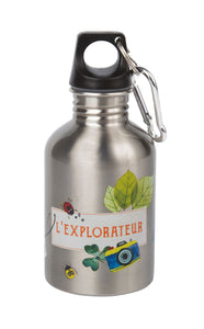 For the budding explorer: illustrated stainless steel water bottle, very practical, with a screw top and spring hook to attach, it's perfect to take everywhere with you!