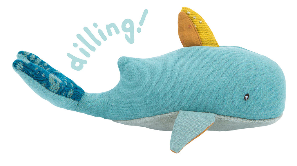 Moulin Roty | Fabric Rattle | Whale | Size: 18cm | Age: 0+