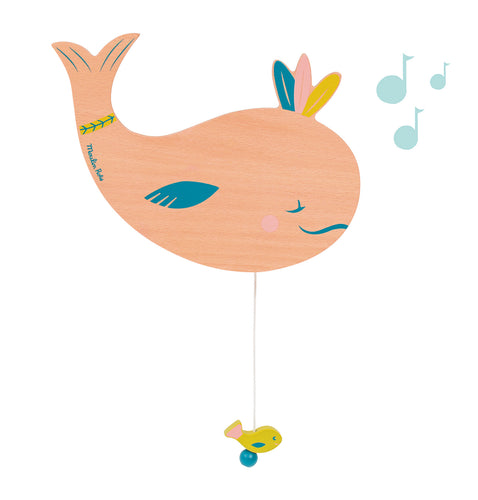 A lovely nursery decor, this wall-mounted music box features a sleepy whale wearing three lucky feathers on her head. By pulling down the fish at the end of the string, it will play a sweet lullaby to soothe baby at bedtime.