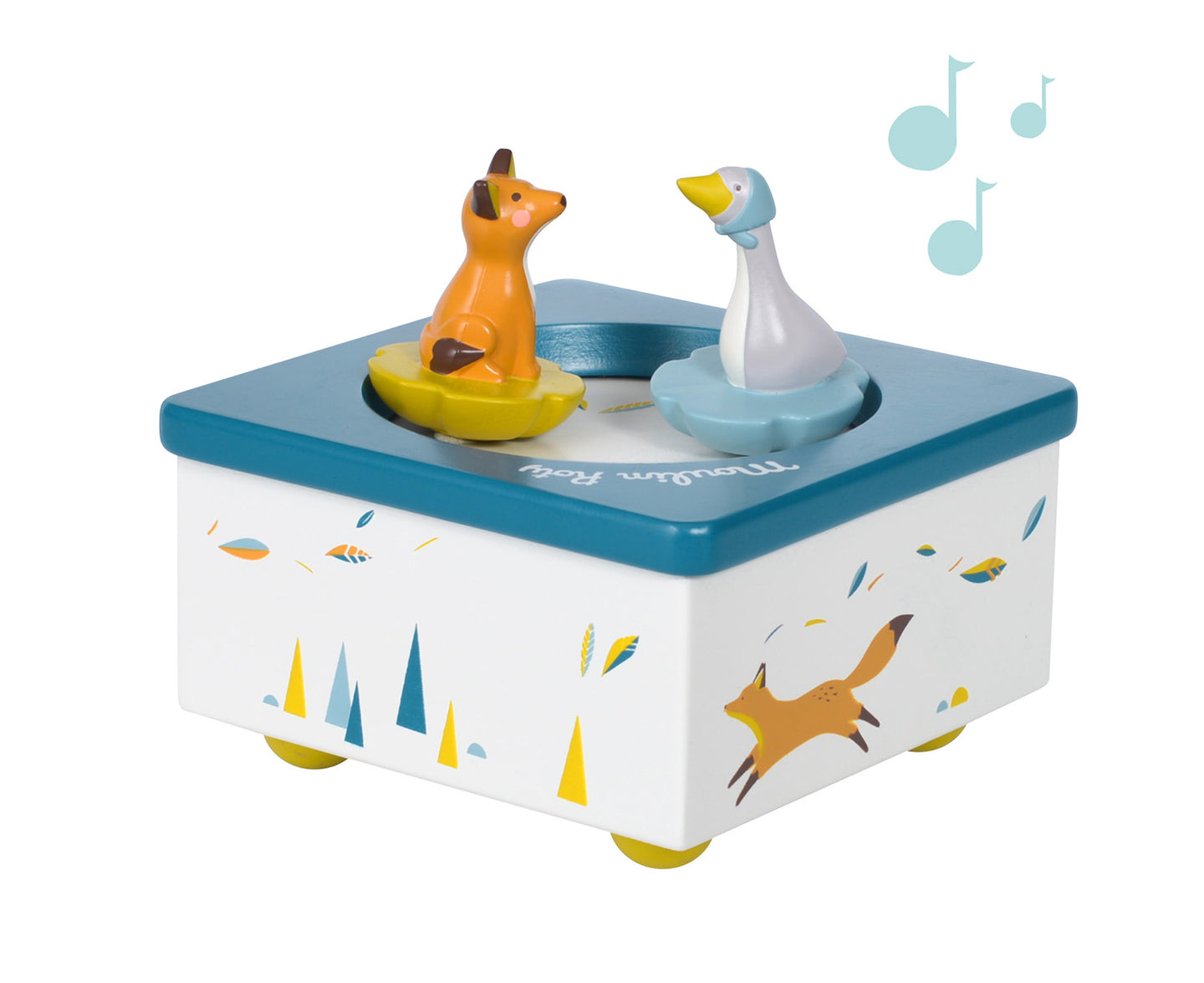 This musical box is beautifully illustrated with Chaussette the Fox, Olga the Goose, lucky feathers and pastel coloured mountains. It plays a sweet lullaby that is sure to put your little one to sleep, as they listen to the beautiful music and look at the fox and goose go around in circles. Good might little one!