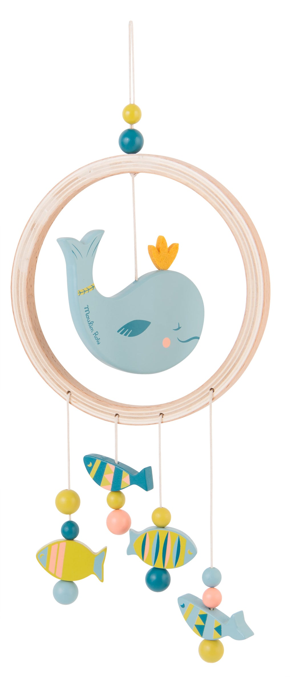This wooden dream catcher features a beautiful whale in the middle of a circle decorated with blue, yellow and pink beads and felt features.
