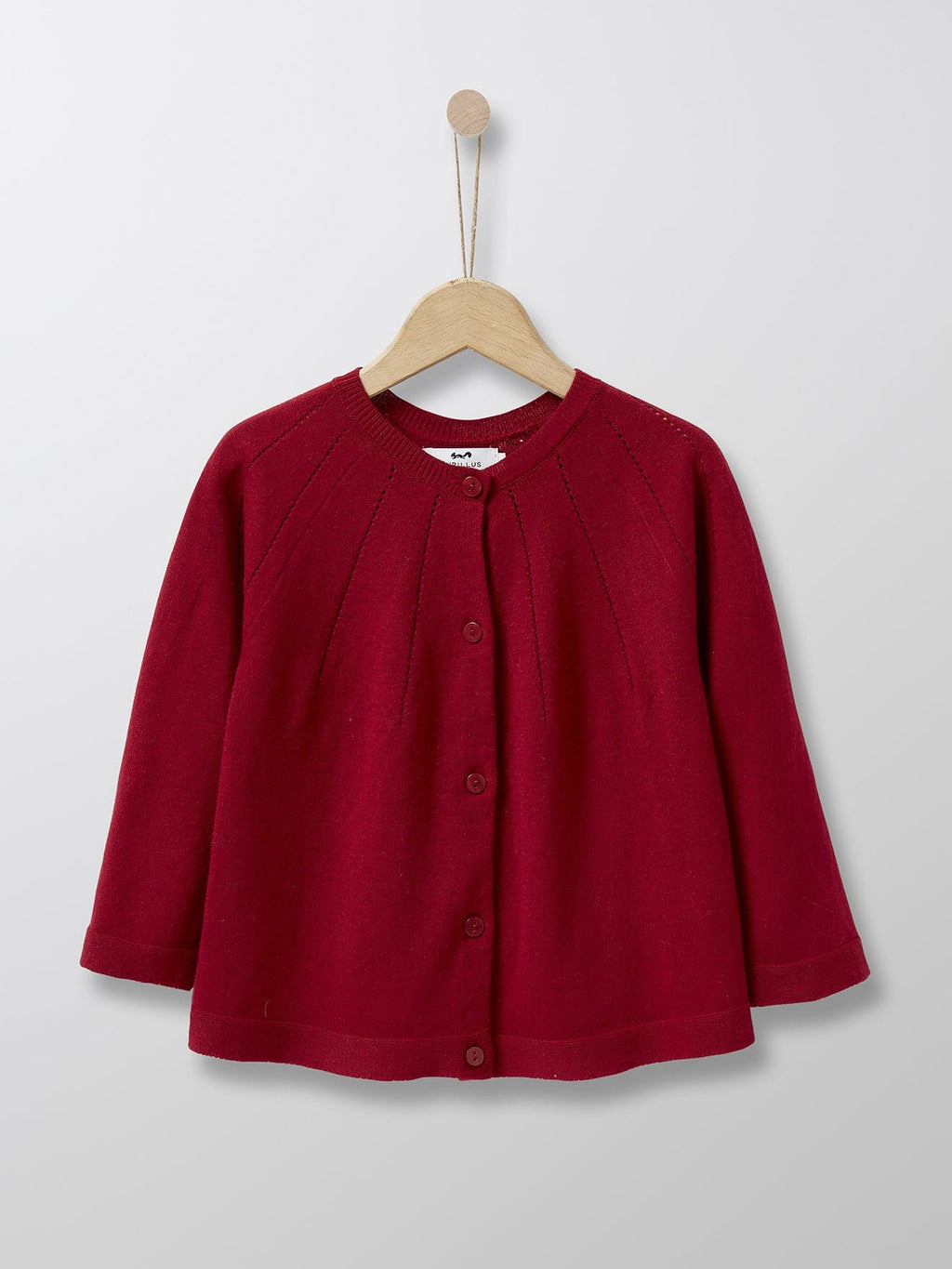 Cyrillus Paris | Girl's Pointelle Cardigan | Cotton + Cashmere | Dark Red | 3Y, 4Y, 6Y