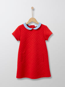 Cyrillus Paris | Dress with Peter Pan Collar | Bright Red | 3Y,6Y