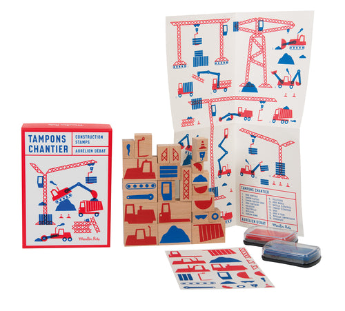 CHILD LOGIC & DESIGN AWAKENING LARGE CONSTRUCTION SITE SET OF 23 STAMPS IN GIFT BOX