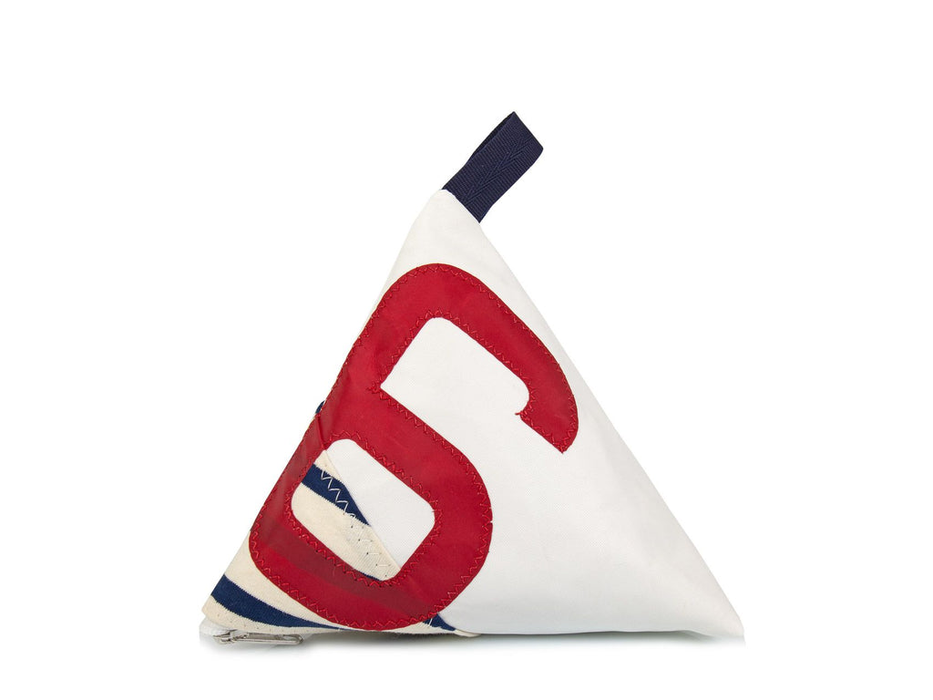 Made of white and red Dacron sail and navy stripes canvas, and adorned with an oversized red number '6', this pyramid-shaped door stopper will add a splash of colour and nautical character to your interior!