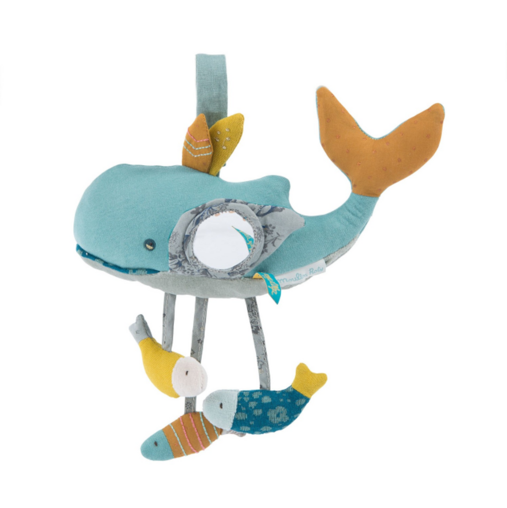 Moulin Roty | Fabric Activity Rattle | Whale | Size: 27cm | Age: 0+