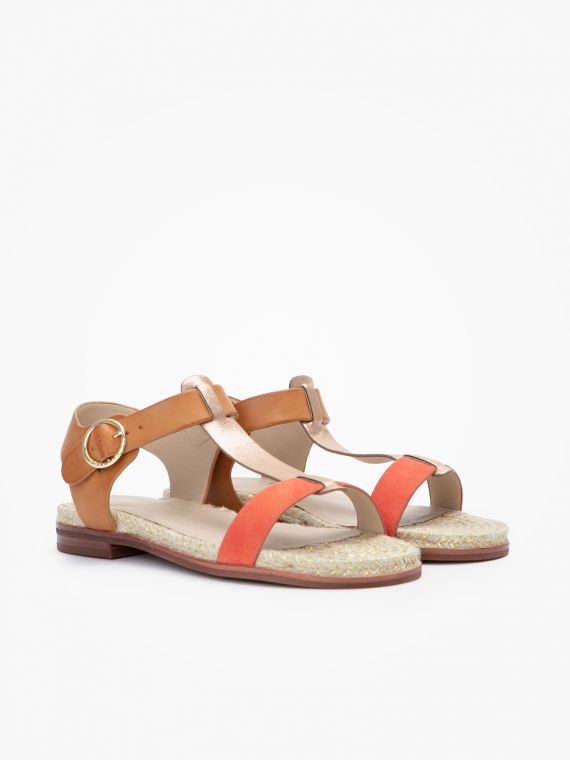 French Espadrille Style Sandals for Women with Leather Like Straps in Camel, Coral and Gold colours