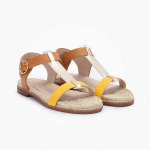 French Espadrille Style Sandals for Women with Leather Like Straps in Camel, Bright Yellow and Iridescent Gold colours