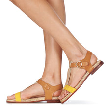 Load image into Gallery viewer, French Espadrille Style Sandals for Women with Leather Like Straps in Camel, Bright Yellow and Iridescent Gold colours