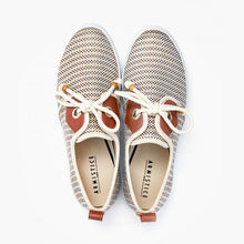 Load image into Gallery viewer, Women's lace-up platform sneakers from France, with 3cm-platform soles and canvas upper in gold stripes, with nautical style rope shoelaces with wood aglets, gold eyelets, and brown leather yokes.