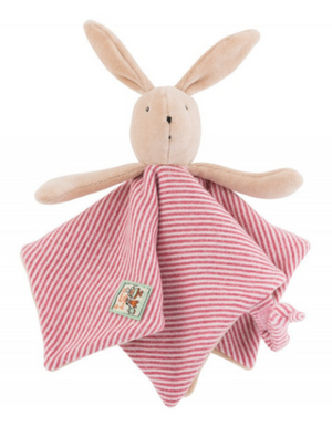 Dressed in red and white striped flannel jersey dungarees, and lined in velvet to create a flat comforter easy for baby's little hands to grasp, Sylvain the Rabbit is an ideal gift for a newborn.