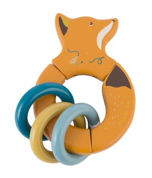 Moulin Roty | Wooden Ring Rattle | Fox with 3 Rings | Size: 13cm | Age: 10M+ | BACK IN STOCK SOON