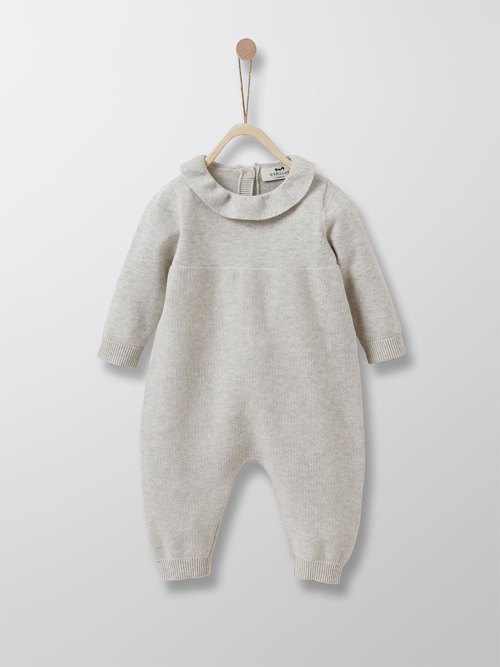 Cyrillus Paris | Jumpsuit with Frill Collar | Cotton + Cashmere | Light Grey | 1M, 3M