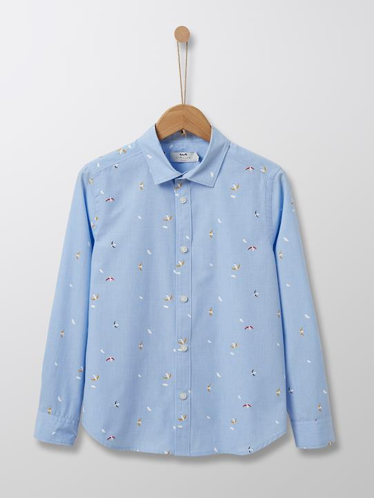 Cyrillus Paris | Boy's shirt | 100% Cotton | Light Blue / Bird print | Size 6-8Y