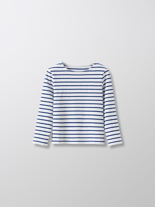 Cyrillus Paris | Boy's sailor-stripe T-shirt with long sleeves | 100% Cotton | Cyan | Size 6-8Y