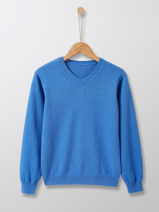 Cyrillus Paris | Boy's V-neck sweater | Cotton + Cashmere | Bright Blue | Size: 6-8Y