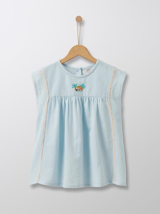 Cyrillus Paris | Girl's embroidered top | 100% Cotton | Sea green | Size 6-8Y