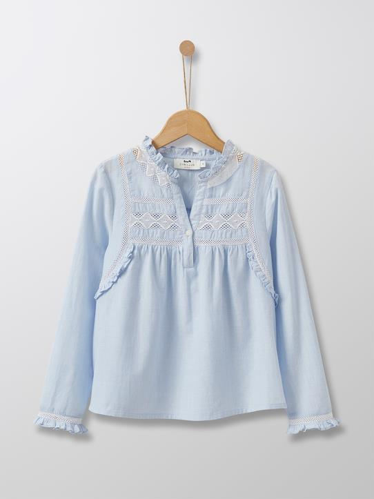 Cyrillus Paris | Girl's Frill Tunic | 100% Cotton | Light Blue | Size 6-8Y