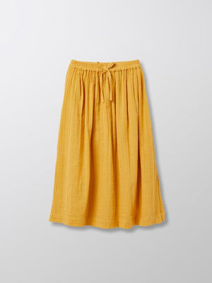 Cyrillus Paris | Girl's long skirt | 100% Cotton | Saffron | Size 6-8Y