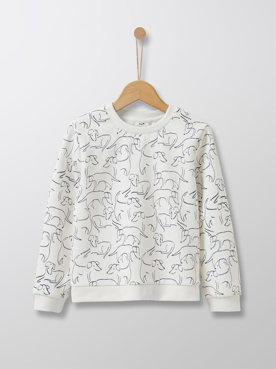 Cyrillus Paris | Girl's novelty sweatshirt | Fleece | Dog Print | Size 6-8Y
