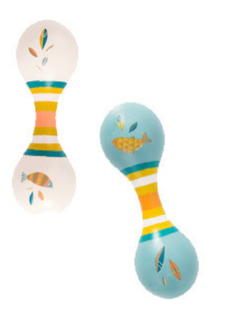 Moulin Roty | Solid Wood Double Maracas | Olga's Travels collection | Age: 0+