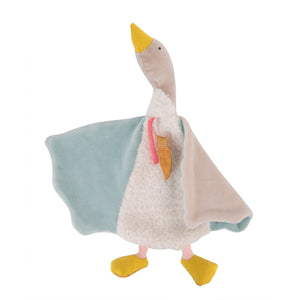 Moulin Roty | Cotton Comforter | Olga The Goose | Pastel Colours | Size: 35cm | Age: 0+