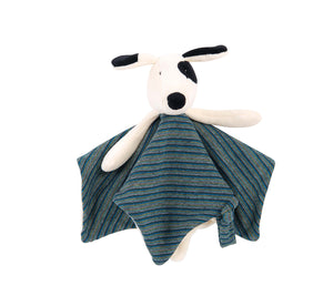 Here is Julius, the dog from Moulin Roty's iconic 'La Grande Famille' collection, as a square comforter. It is a nice black and white dog wearing a grey and dark blue striped clothes.