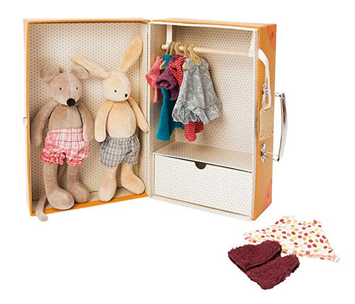 Sturdy cardboard suitcase opens up into a wardrobe containing a small (20cm) size Sylvain Rabbit and Nini mouse and a selection of day and night time clothing. The wardrobe contains a drawer and hanging space.
