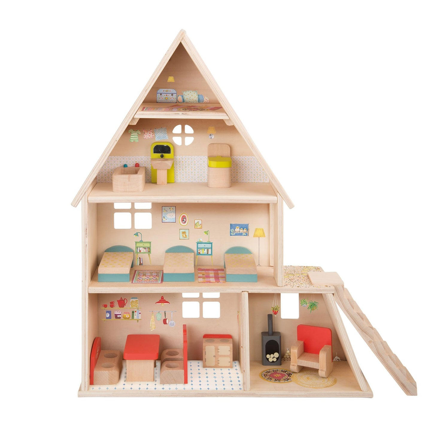 In the style of aFrench country house, this doll's house includes a kitchen, dormitory bedroom, bathroom, conservatory and a loft for hide and seek, plus all its furniture.