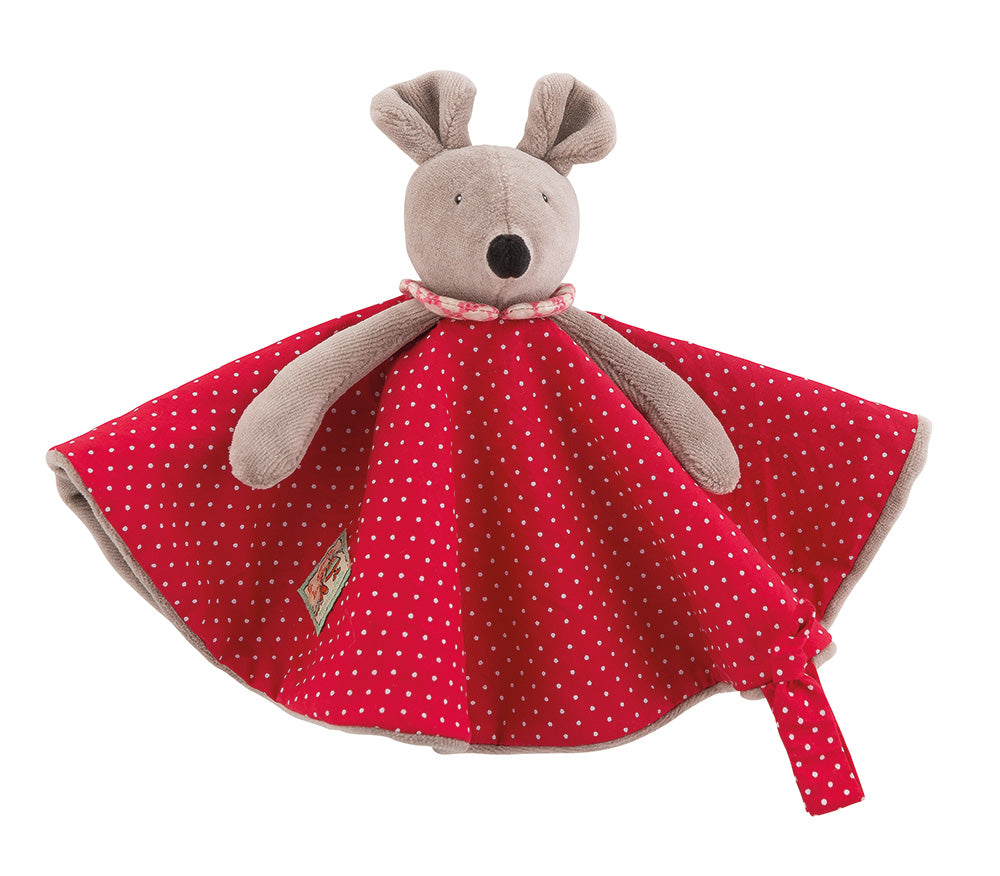 Little Nini the mouse, in her polka dot printed cotton dress, lined in velvet to create a flat comforter easy for baby's little hands to grasp. It includes a strap to attach a pacifier.