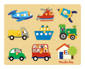 Moulin Roty | Wooden Peg Puzzle | Theme: Transport | Age: 1+